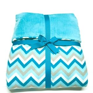 Other - Aqua Chevron Flannel & Chenille Blanket